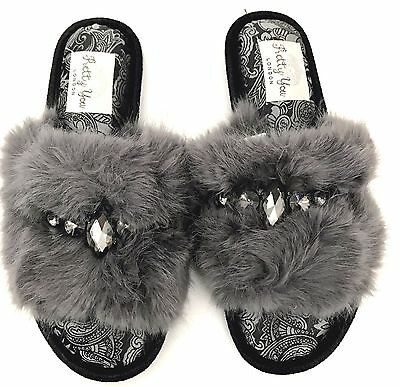 Pretty You London Elegant Women Slippers Jeweled, Brides, Mom's, Gift, Grey