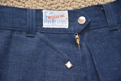Vintage NOS 50s Jeans Western Girl Flat Front Side Zip High Waist Pearl Snaps