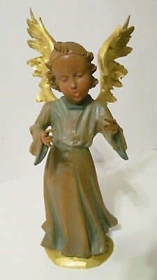 Ober Ammergau Angel, Gold Guild & Painted wings Beautiful Wood Carved Figure