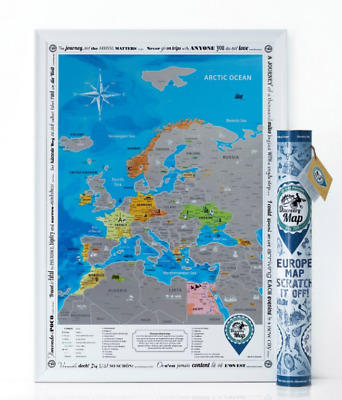 Big Silver Europe Scratch Off Map Push Pin Poster Laminated Trip Poster Card