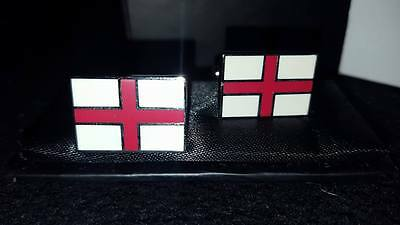 St. Georges Cross England Cufflinks Silver Plated - Brand New in Box