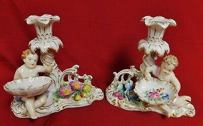 Pair of Antique Ger. Dresden Carl Thieme Porcelain Putti Figural Candle Holders