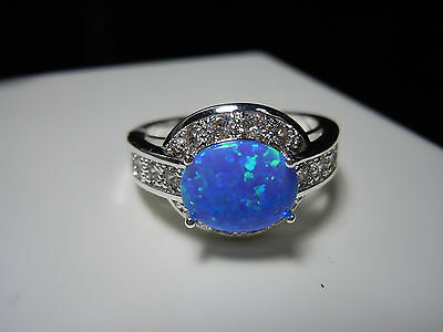 Blue Green Opal Synthetic White Topaz Stone 925 Silver Ring Size 10.25 - 25 Cts