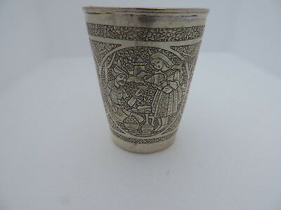 MOST ORNATE ANTIQUE PERSIAN QAJAR ISLAMIC SOLID SILVER BEAKER CUP 131 gr 4.6 oz