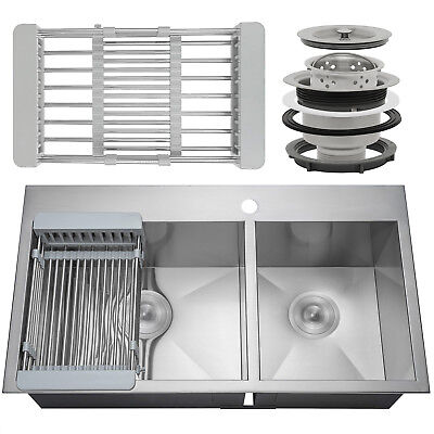 33 X 22 X 9 Stainless Steel Kitchen Sink Top Mount Double 60 40 Tray Strainer