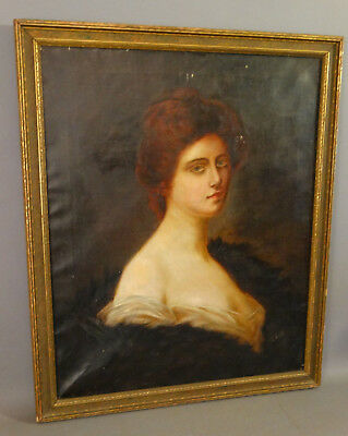 1906 Antique EDWARDIAN Era LADY old GIBSON GIRL Victorian PORTRAIT Oil PAINTING