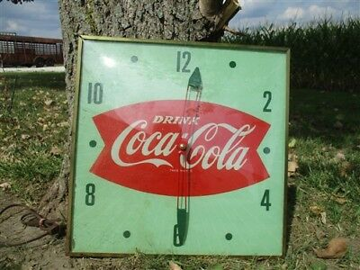 Drink CocaCola Light Clock Pam Bubble Glass Fishtail Sign Vintage Advertising a