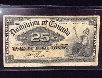 "1900 Canadian $0.25 Note ""Shin Plaster"""