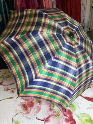 Vintage Girls Umbrella Blue Green White Plaid Curved Lucite Blue Clear Handle