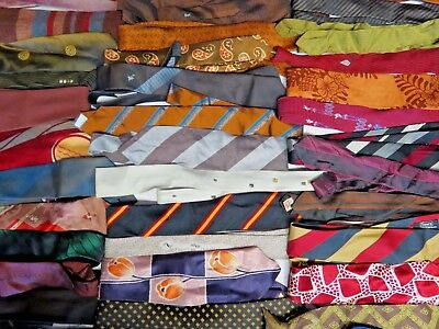 HUGE LOT OF 100 VINTAGE NECKTIES MIX OF 40s-60s BRAND NAME SKINNY ROCKABILLY MOD