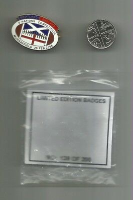 Scotland v England 2006 6 Nations commemorative pin badge (with packaging)