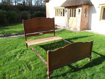 Antique Walnut Double Bed in good overall condition