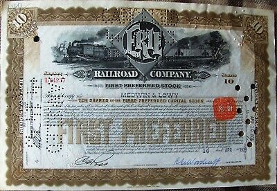 Stock certificate Erie Railroad Company 1939 with transfer stamps & British seal
