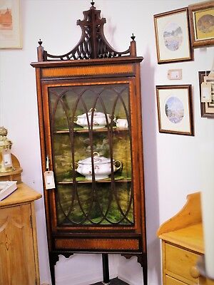 Quality Ewardian Mahogany Inlaid Corner Display Cabinet