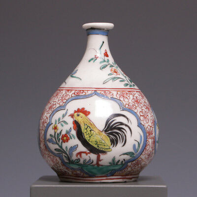 "Rare ""Amsterdams bont"" decorated Japanese bottle vase, 18th ct. cockerel."