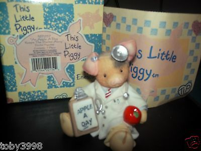 Enesco This Little Piggy An Apple a Day Keeps the Doctor Away Figurine NEW w BOX
