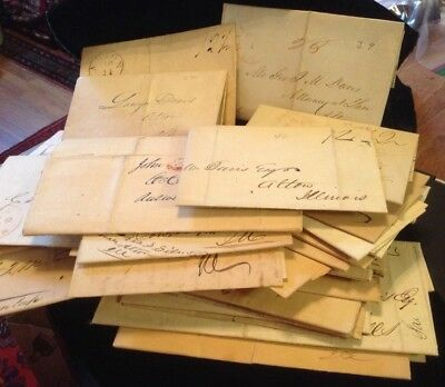 Alton Il. collection of letters from 1830-1843 before stamps or envelopes
