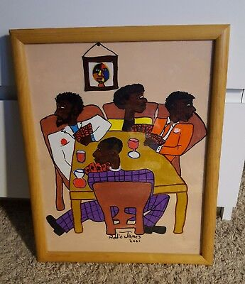 Addie James Original African American Folk Art - Brothers Playing Cards Signed