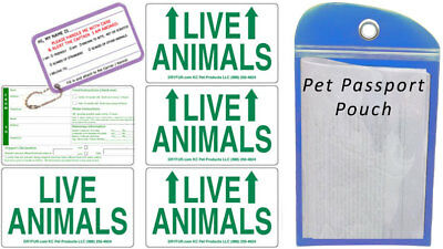 Live Animal Sticker Label Set of 5 w/ Pet Passport Pouch BLUE