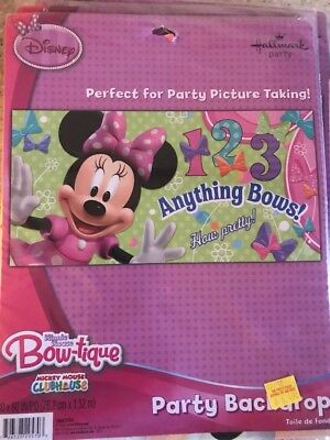 MINNIE MOUSE BOW-TIQUE Disney Kids Birthday Party Backdrop Wall ...