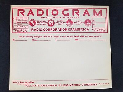 Vintage Unused RCA Radiogram Form 100-50 WWW World Wide Wireless