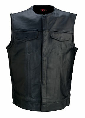 Z1R 338 Mens Leather Vest Black