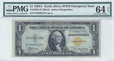 $1 1935A North Africa WWII PMG 64 EPQ Emergency Issue Silver Certificate