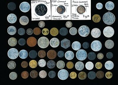 67 OLD GERMAN COINS and TOKENS (MUST SEE PICTURES) INTERESTING > NO RESERVE