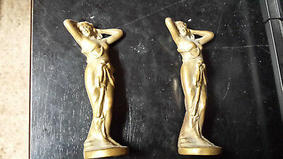 Pair of solid bronze/brass vintage Aphrodite figurines