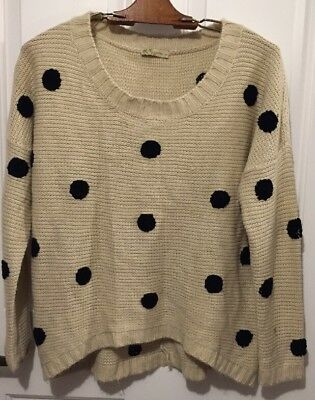 Urban Day Knit Sweater Beige With Black Polka Dots Women's Size Small