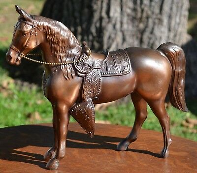 "Large 12"" Vintage Bronze Pot Metal Trophy Horse Great Condition"