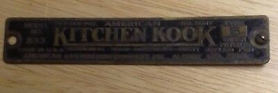 1920's American Gas Machine Co. Kitchen Kook Cabinet Brass Tag Raised lettering
