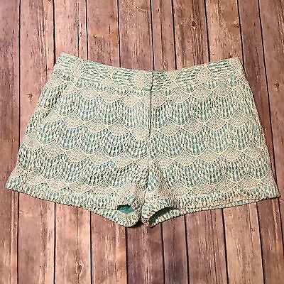 Ann Taylor LOFT Lace Shorts Size 6 Original Teal with White Lace