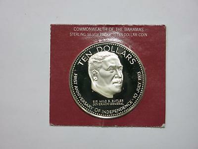 Bahamas 1974 $10 Silver Proof Sir Milo Butler Dcameo World Coin Collection Lot