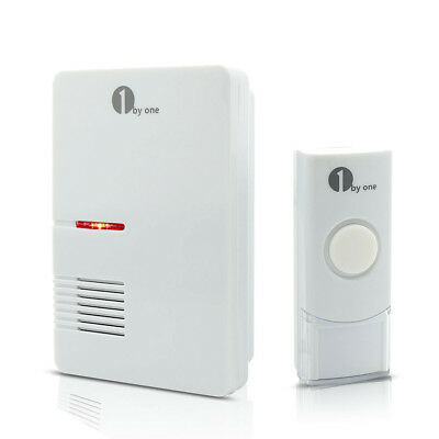 1byone Wireless Digital Doorbell Chime 36 Melodies LED Flashing Indicator White