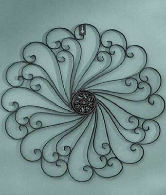 Wrought Iron Wall Mount Black Metal Decor Art Outdoor Indoor Medallion Tapestry
