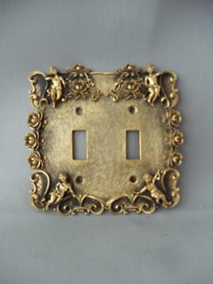 Vintage Gold Gilt Metal Cherubs Double Electrical Light Switch Plate Cover