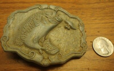 Vintage brass Bass Fishing  Belt Buckle Jumping out of water bait fight