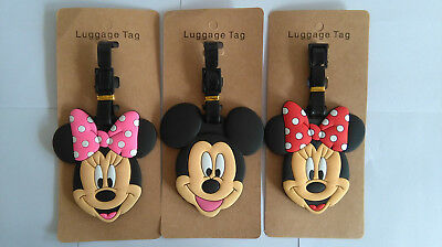 Disney Mickey Minnie Mouse Head PVC Luggage Labels Tags Travel Baggage Tags