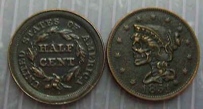 Hobo coper Half Cent coin dated 1851