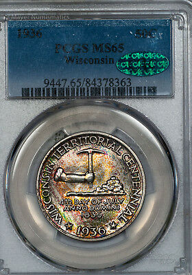 1936 Wisconsin Commemorative PCGS MS65 CAC Approved Rainbow Toned (84378363)