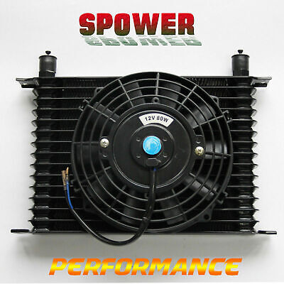 "15 ROW AN10 Engine Transmission Aluminum Oil Cooler Black + 7"" Electric Fan Kits"