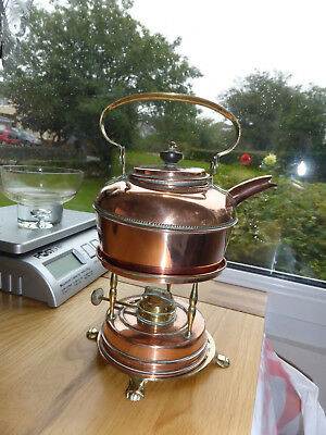Antique British Make Copper And Brass Tea Kettle With Warmer