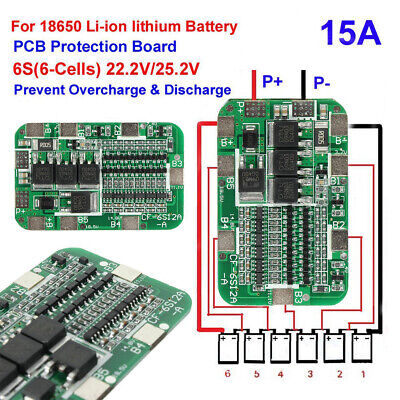 6S 15A BMS Protection PCB Board For 6 Packs Li-ion Lithium 18650 Battery Cells