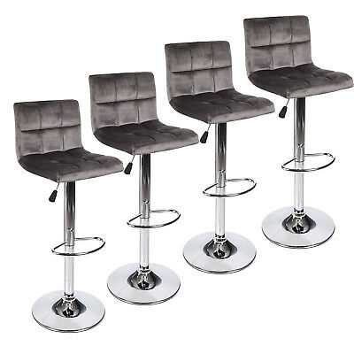 Incredible Set Of 4 Bar Stool Velvet Fabric Swivel Hydraulic Adjustable Caraccident5 Cool Chair Designs And Ideas Caraccident5Info