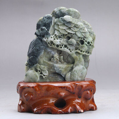 Exquisite 100% Natural DUSHAN Jade Hand Carved tree & Man Statue xx272