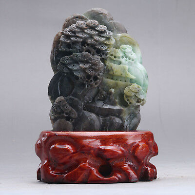 Exquisite 100% Natural DUSHAN Jade Hand Carved tree & Man Statue xx275