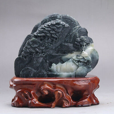 Exquisite 100% Natural DUSHAN Jade Hand Carved tree & Man Statue xx288