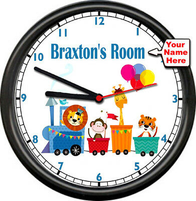 Train Caboose Boy's Baby's Kid's Decor Personalized Room Poster Sign Wall Clock