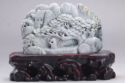 Exquisite 100% Natural DUSHAN Jade Hand Carved tree & Man Statue xx347